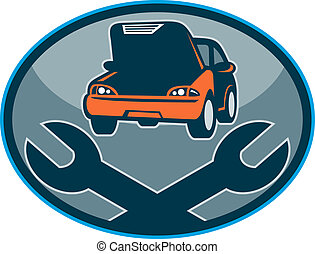 llave inglesa, automóvil, reparación, mecánico, coche, avería