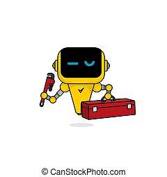 llave inglesa, diseño, illustration., tenencia, caja de herramientas, vector, mascota, robot