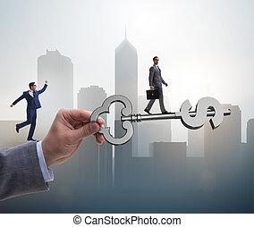 llave, prosperidad, éxito financiero, concepto