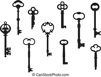 llaves, esqueleto, diez