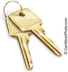 llaves, gavilla, oro