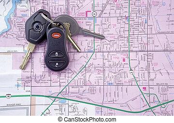 llaves, mapa, 2, coche