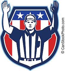 llegada, norteamericano, árbitro, fútbol, funcionario