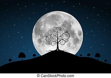 lleno, árboles, luna, vector, ilustración, estrellas