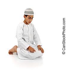 lleno, 15, completo, fotos, rogar, actuación, musulmán, por favor, mientras, rezando, salat., islámico, portfolio., otro, niño, serie., árabe, mirada, mi, explicación, movimientos