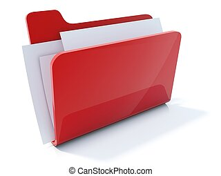 lleno, aislado, carpeta, rojo blanco, icono