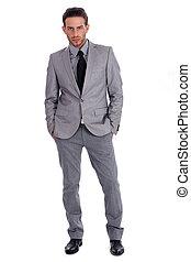 lleno, empresa / negocio, exitoso, lenth, traje, hombre, guapo