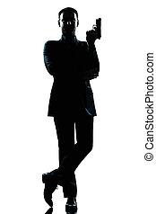 lleno, silueta, james, longitud, agente, secreto, hombre, bono, postura
