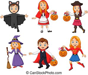 llevando, grupo, trajes, caricatura, diferente, niños
