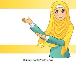 llevando, mujer, velo, amarillo, musulmán