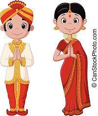 llevando, pareja, tradicional, traje indio, caricatura