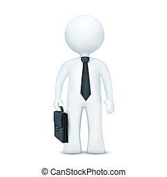 llevando, posición, carácter, maleta, corbata, 3d