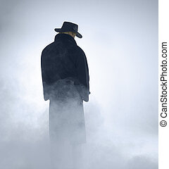 llevando, posición, mujer, chamarra, trinchera, niebla