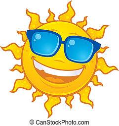 llevando, sol, gafas de sol