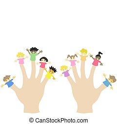llevando, títeres, dedo, niños, mano, 10