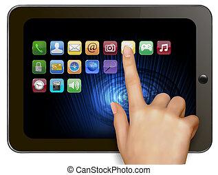 llevar a cabo la mano, tableta de digital, compute