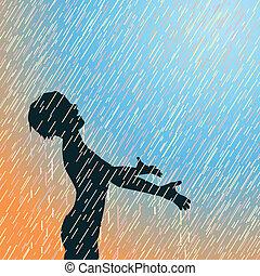 lluvia, feliz