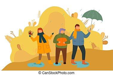 lluvia, hojas, otoño, niños, juego, aire libre