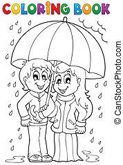 lluvioso, colorido, 1, tema, libro, tiempo