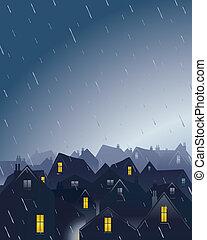 lluvioso, tejados