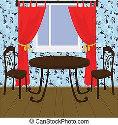 lnterior con mesa y sillas