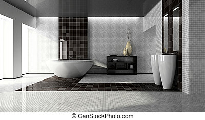 lnterior del baño moderno 3D