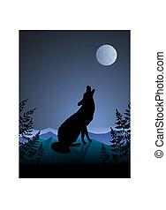 Lobo aullando a la luna en el fondo de la noche