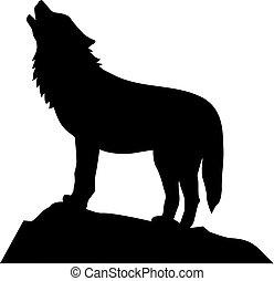 Lobo parado y aullando