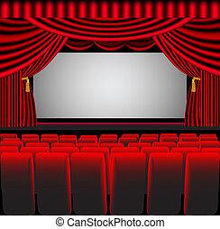 local, teatro, silla, pantalla