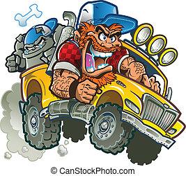 Loco campesino en camioneta