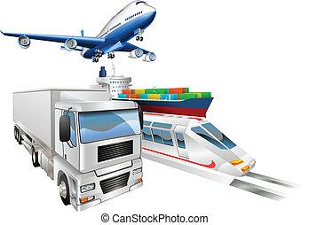logística, carga, concepto, tren, camión, avión, barco
