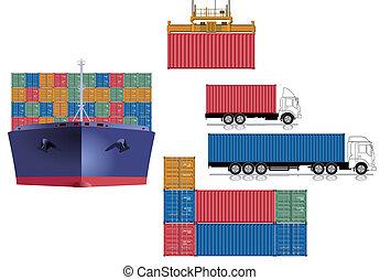 logística, contenedor, transporte