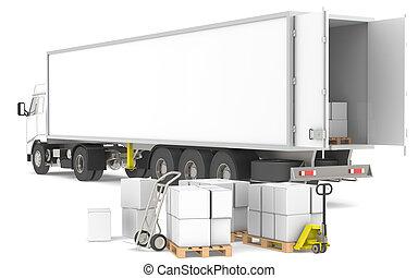 logística, distribution., series., trucks., azul, amarillo, cajas, parte, paletas, almacén, abierto, remolque