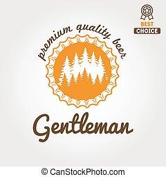 Logo antiguo, placa, emblema o diseño logotipo para cerveza, cervecería, cerveza casera, taberna, bar, café y restaurante