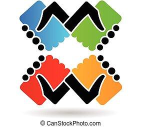 Logo apretón de manos colores de trabajo en equipo
