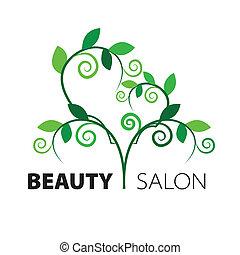 Logo, corazón de hojas verdes en el salón de belleza