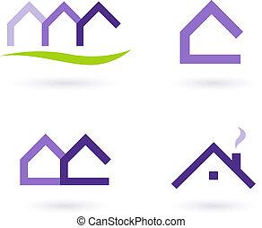 Logo de bienes raíces y iconos vector púrpura y verde