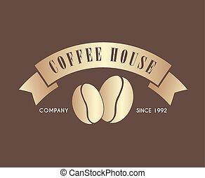 Logo de café dorado con una cinta para un café o una tienda
