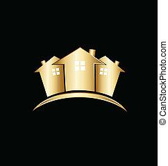 Logo de casas de oro de bienes raíces