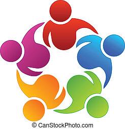 Logo de compañeros de trabajo en equipo