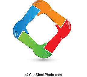 Logo de conexión de manos