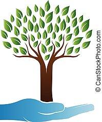 Logo de cuidado de árboles