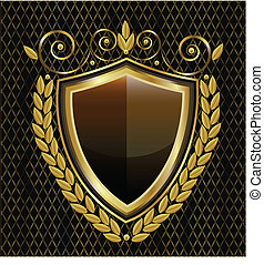 Logo de escudo dorado