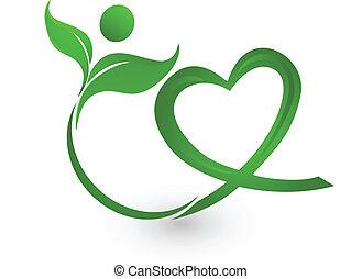 Logo de ilustración de la naturaleza verde