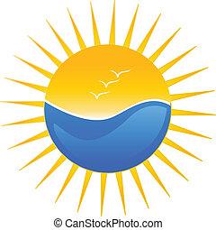 Logo de ilustración de playa y sol