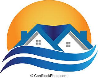 Logo de la casa, vector inmobiliario