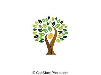 Logo de la gente de los árboles, ícono de bienestar