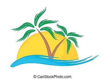 Logo de la isla tropical.