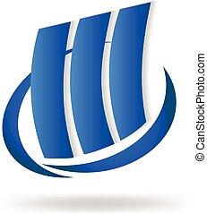 Logo de los edificios modernos azules