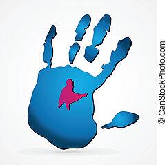 Logo de manos grunge azul